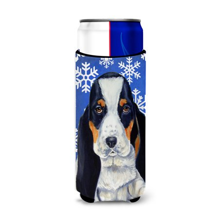 Basset Hound Winter Snowflakes Holiday Ultra Beverage Insulators for slim cans