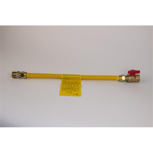 Charman 800-58-A7-12 Yellow Coated Gas Connector with Straight Ball Valve - 5/8 inch OD 1/2 inch MIP x 3/4 inch FIP - 12