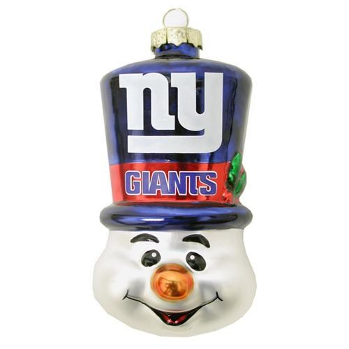 New York Giants Blown Glass Snowman Top Hat Christmas Tree Ornament