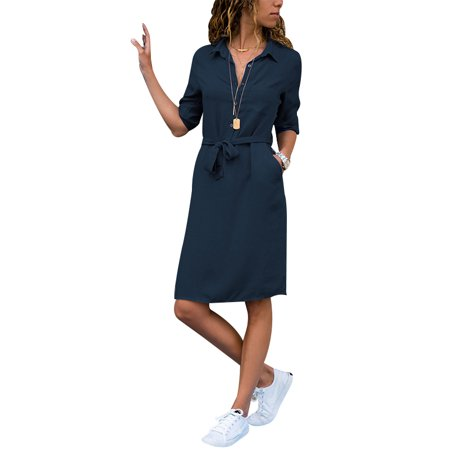 LilyLLL Womens Casual Plain Long Sleeve Buttons Shirt Dress with Belt