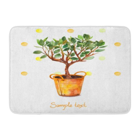 GODPOK Orange Flower Watercolor Tree in Pot with Splashes Spring Time Beautiful of Plant Yellow Green Autumn Rug Doormat Bath Mat 23.6x15.7