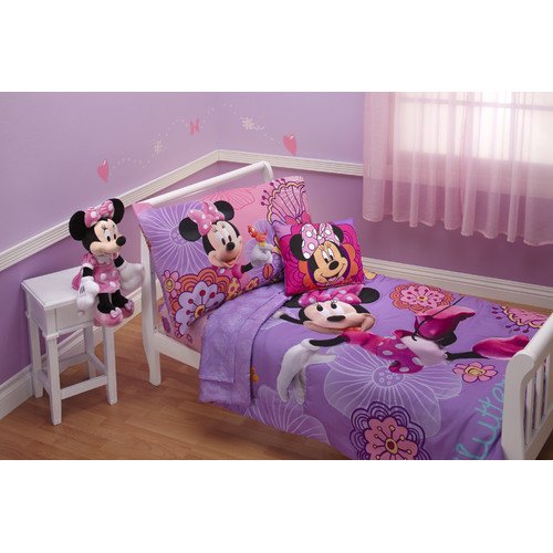 Marvelous Disney Minnie Mouse Fluttery Friends Piece Toddler Bedding Set Walmart