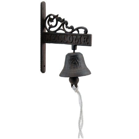 Cast Iron Dinner Bell - Flower Vine Welcome - Distressed Brown