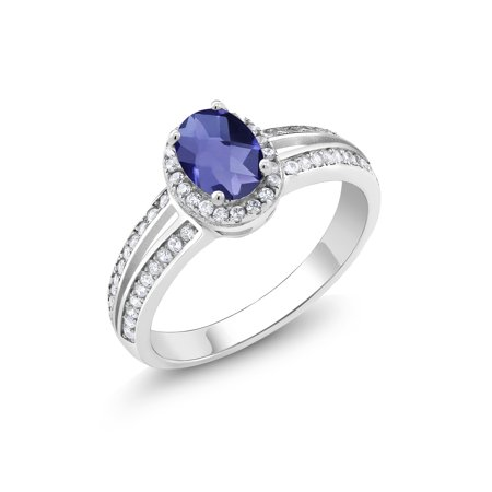 1.25 Ct Oval Checkerboard Blue Iolite 925 Sterling Silver -