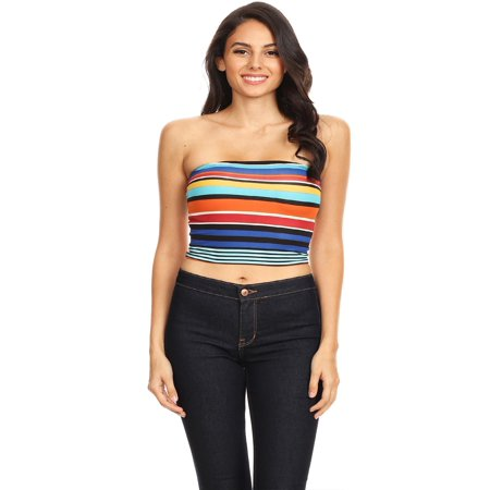 3cd8ccaa35c853 NEW MOA - NEW MOA Women s Strapless Basic Multicolored Striped Cropped Tube  Top Made in USA - Walmart.com