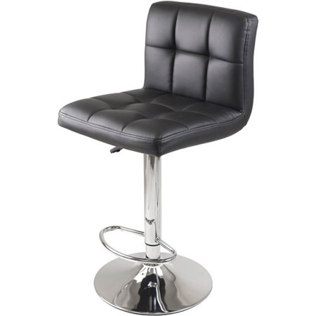 Winsome Wood Stockholm Adjustable Swivel Stool, Black & Chrome