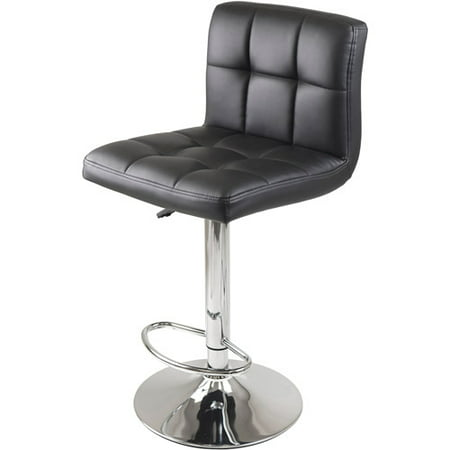 - Winsome Wood Stockholm Adjustable Swivel Stool, Black & Chrome