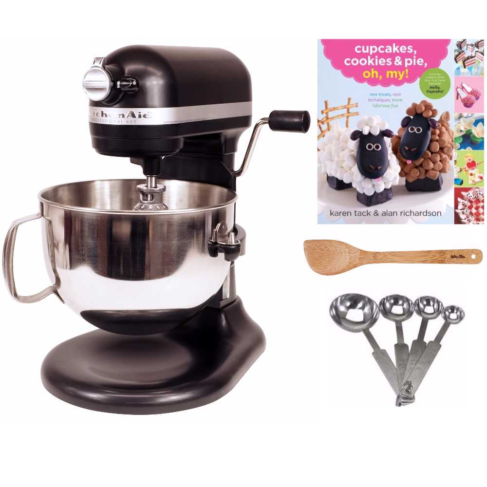 KitchenAid Pro 600 Series 6 Quart Bowl Lift Stand Mixer (Black) Bundle