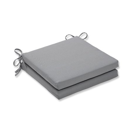 Set of 2 Gray Tweed UV Resistant Outdoor Patio Square Corner Seat Cushion with Ties 20