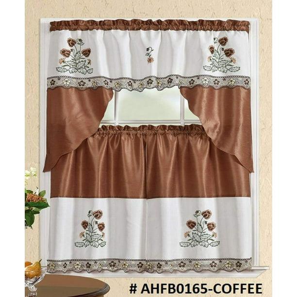 3 Piece Kitchen Curtain Set Brown Beige Color Flower Print 2 Tiers And 1 Valance Ahfb0165 Coffee Walmart Com Walmart Com