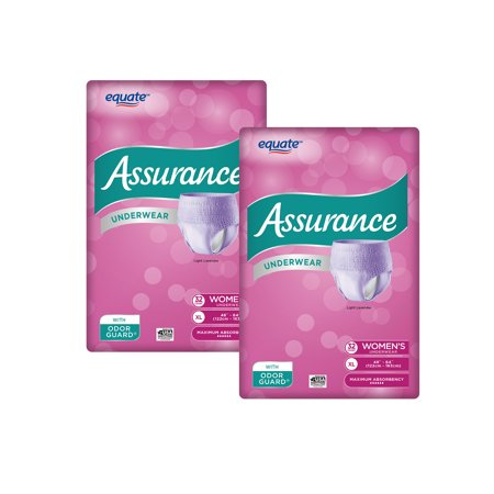 (2 Pack) Assurance Incontinence Underwear for Women, Maximum, XL, 32