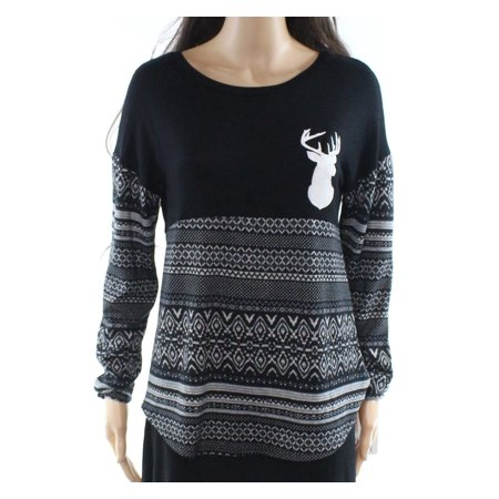 Womens Reindeer-Print Fair-Isle Knit Top XS](Fairisle Tunic)