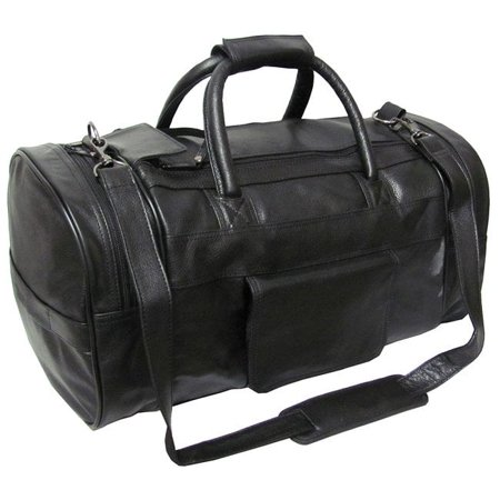 Amerileather  Black Leather 20-inch Carry On Dual-zippered