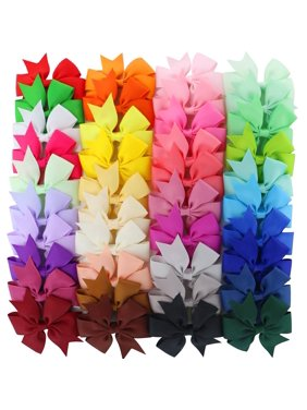 40Pcs Multicolor Ribbon Bow Hair Clip Pure Color Hairpin Hair Accessories For Baby Girls Kids Teens Toddlers Children
