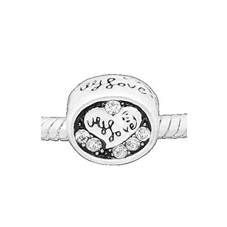 """""""Love Hearts"""" Clear Rhinestone Charm Bead. Compatible With Most Pandora Style Charm Bracelets."""