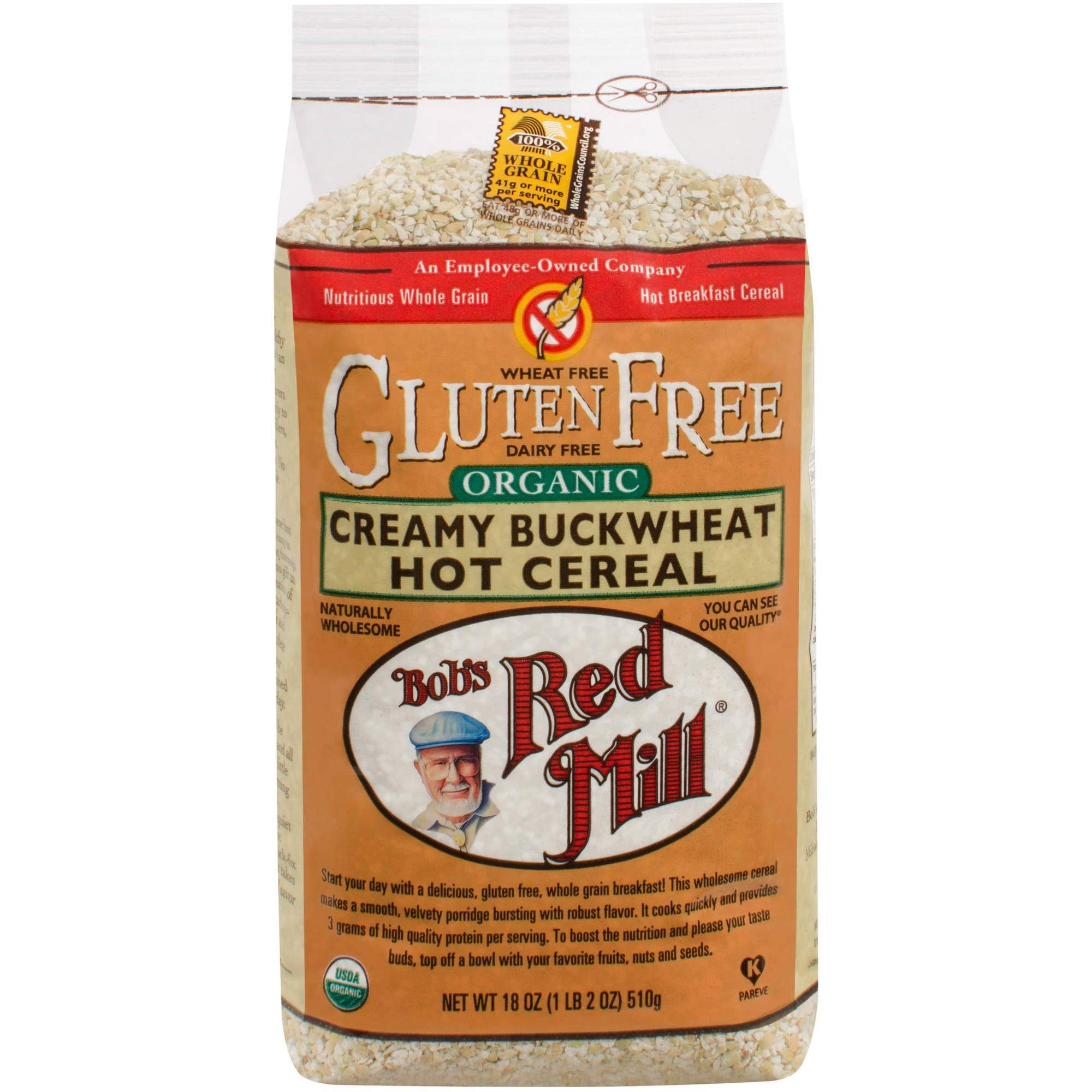 Bob's Red Mill Organic Whole Grain Creamy Buckwheat Hot Cereal, 18 oz (Pack of 4)