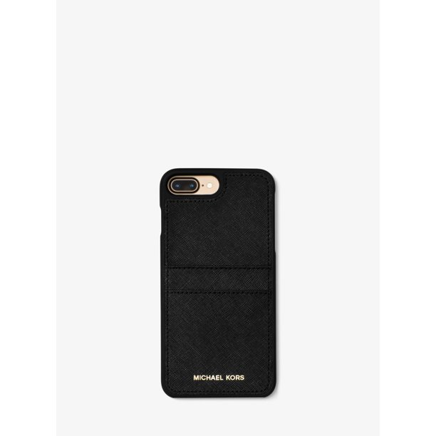 Michael Kors Saffiano Leather Case with Pockets for iPhone 8 Plus / iPhone 7 Plus - Black