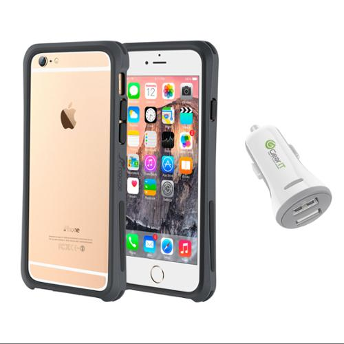 iPhone 6 Case Bundle (Case + Charger), roocase iPhone 6 4.7 Linear Bumper Open Back with Corner Edge Protection Case Cover with White 3.4A Car Charger for Apple iPhone 6 4.7-inch, Gray