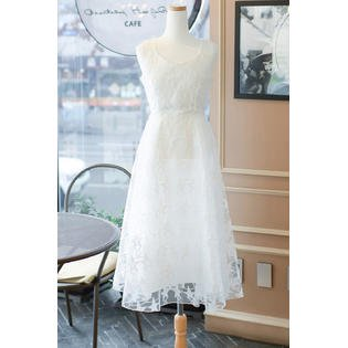 af07ee79f70a Unomatch - Women Sleeveless Star Design Lace Party Dress White - Walmart.com