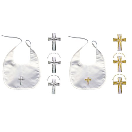 Baby Toddler Infant Christening Baptism White Bib Gold Silver Embroidered Cross - Baby Christening