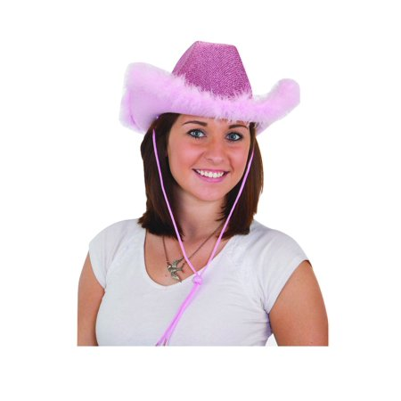 Womens Pink Cowboy Cowgirl Hat Glitter Feathered Adult Costume Accessory for $<!---->