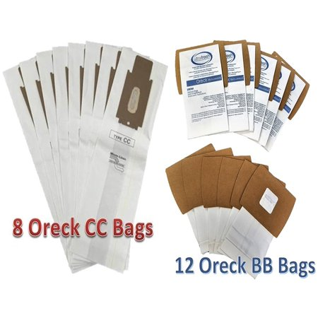 Cc Djs Kit - Oreck XL Supply Kit 8 Type CC Upright + 12 Oreck Buster B Canister Type BB Vacuum Bags, compare to part nos. CCPK8, CCPK8DW, PKBB12OF PKBB12DW