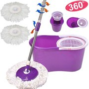 Ktaxon Microfiber Spin Floor Mop with Bucket 2 Heads Rotating 360° Easy Cleaning Mop Cleaning System