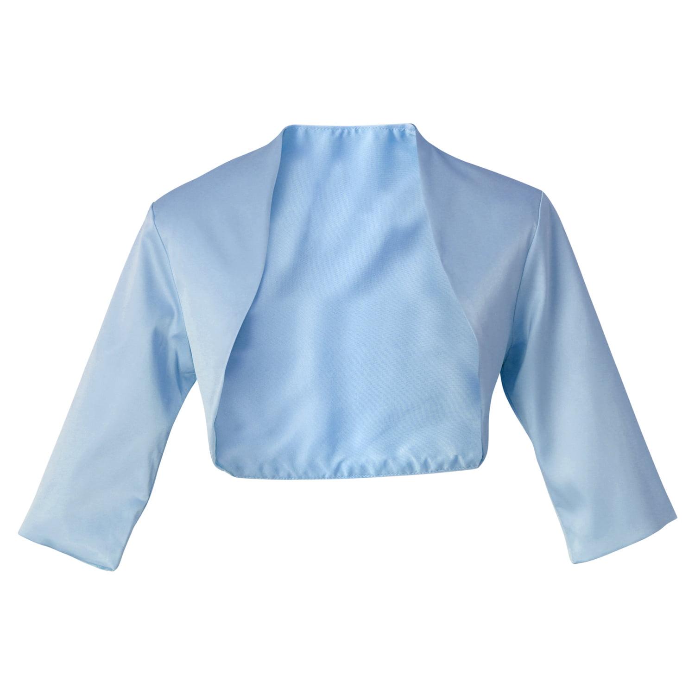 Faship Satin 34 Sleeve Bolero Shrug Cardigan Top S 4XL Light Blue,M