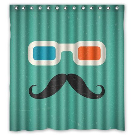 RYLABLUE Sunglasses and Funny Mustache Waterproof Polyester Fabric Shower Curtain 66x72 inches - image 1 of 2