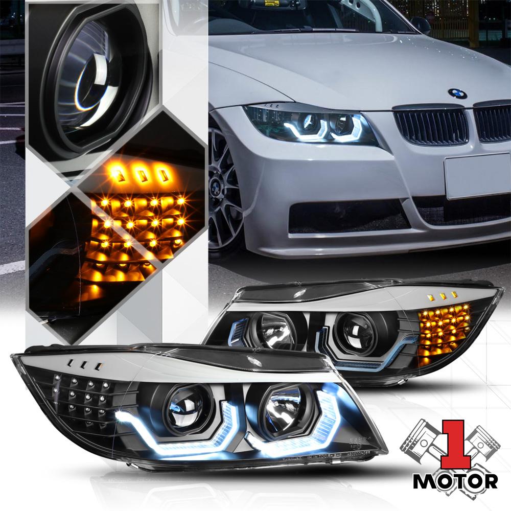 Projector Headlights Pair Set for 06-08 BMW 323i 328i 328xi 330i 330xi 335i 4Dr