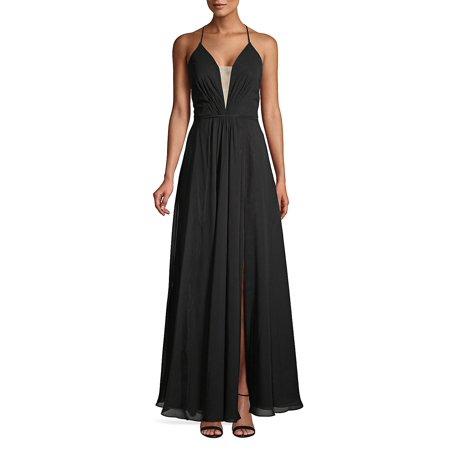 Chiffon Lace-Up Gown