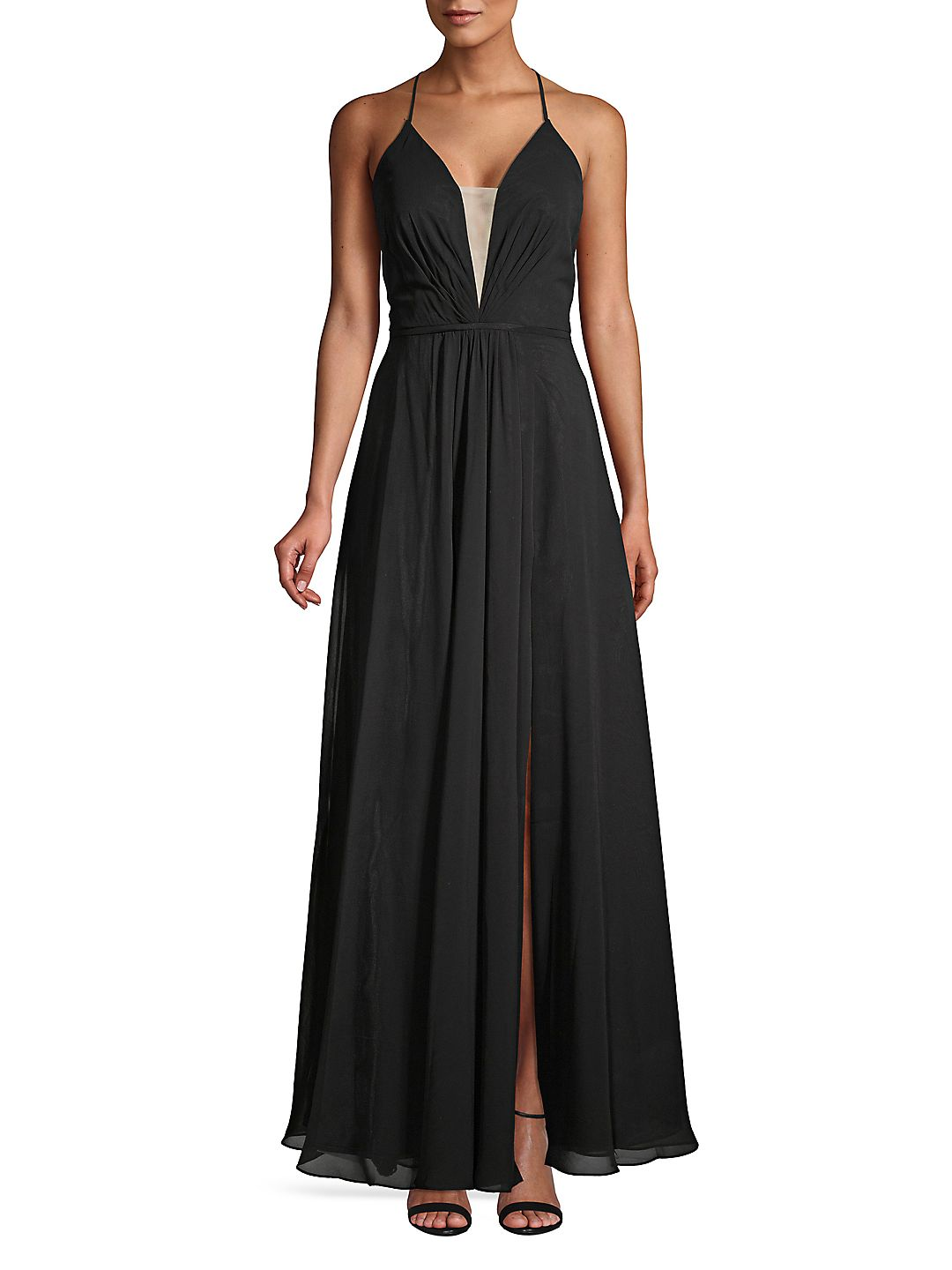 Chiffon Lace-Up Gown