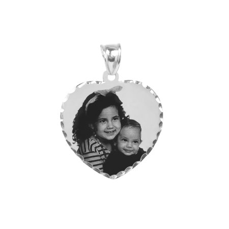 - Personalized Sterling Silver Black and White Photo Charm with Diamond Cut Border