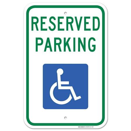 "Handicap Parking Sign - Federal 12""x18"" 3M Prismatic Engineer Grade Reflective Handicap Parking Sign Aluminum Green Blue on White"