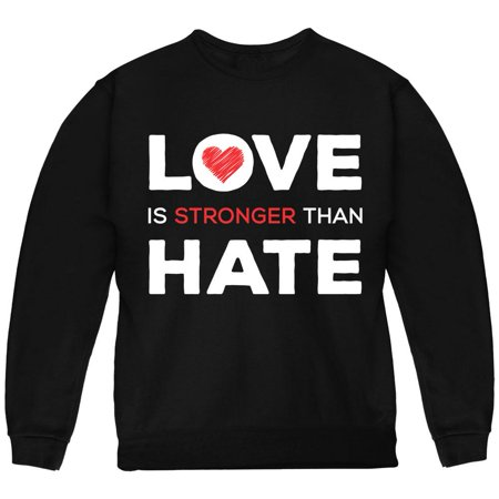 Activist Love is Stronger Than Hate World Peace Equality Youth Sweatshirt Black YSM