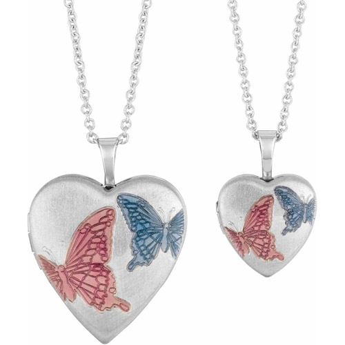 Silver-Plated Brass Mothermy and Me Enamel Butterfly Heart Locket Pendant