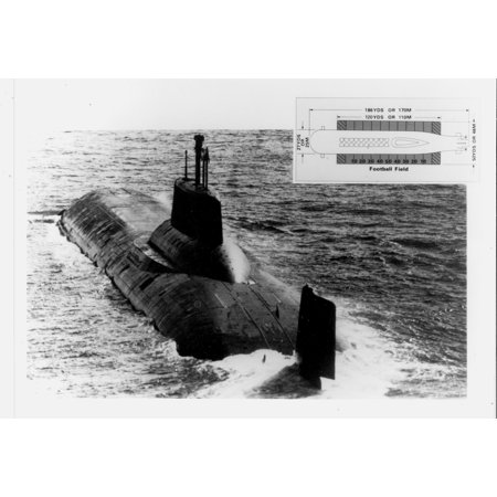 Typhoon Class Submarine (LAMINATED POSTER Soviet Typhoon class ballistic missil submarine, with inset of a football field graphic to convey Poster Print 24 x)