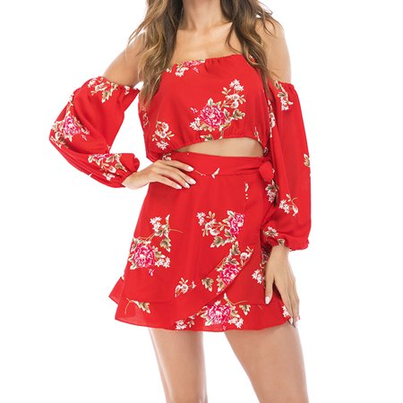 Women 2PCS Suit Crop Top Mini Skirt Beach Wear Dress Outfits Holiday Clothes Red S
