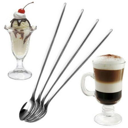 6Pcs Stainless Steel Long Drink Ice Cream Coffee Cocktail Teaspoon Spoon Kitchen - image 4 de 4