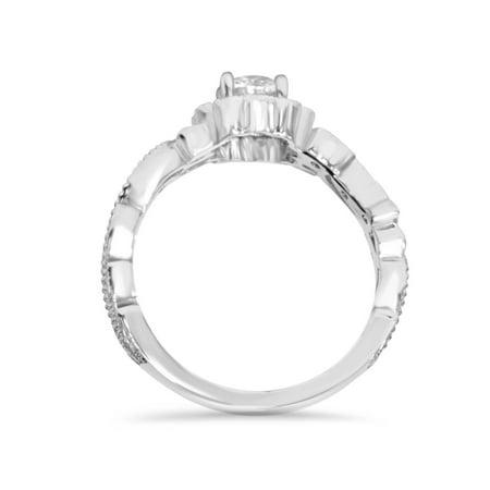1/2 Ct Vintage Diamond Vintage Vine Halo Engagement Ring 14K White Gold - image 1 de 3