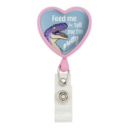 Velociraptor Feed Me and Tell Me I'm Pretty Dinosaur Funny Heart Lanyard Retractable Reel Badge ID Card Holder - Pink