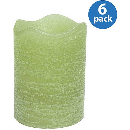Inglow Flameless Rustic Pillar Candles, Citrus Sage, Set of 6