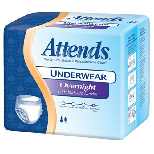 Attends Healthcare Products Attends Overnight Protective Underwear with Leakage Barriers Large, 44- 58, 56 Count