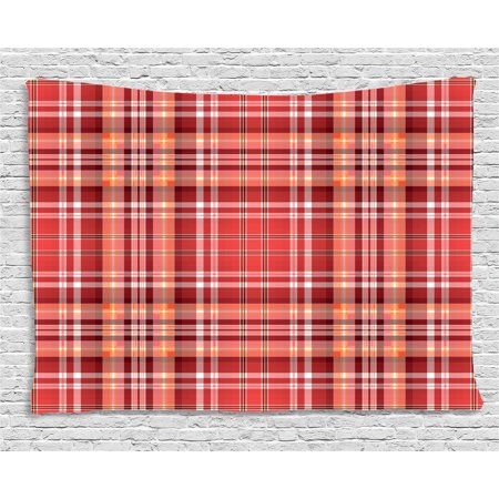 Checkered Tapestry, Red Pink Orange Checkered Pattern with White ...