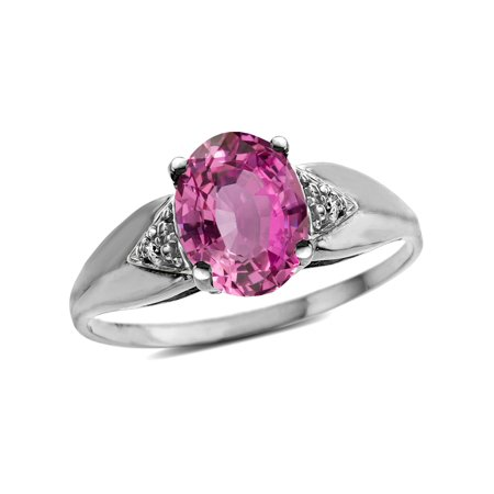 Star K Oval 9x7 Created Pink Sapphire trillion miracle setting wide band Ring