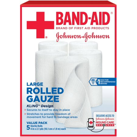 BAND-AID First Aid Rolled Gauze Sterile Roll, Large 5 ea (Pack of
