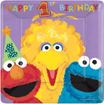 Sesame Street 1st Birthday Dinner Plates (18-pack) - Party Supplies