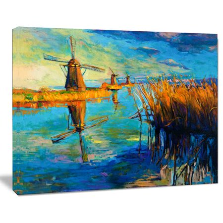 Orange Windmill - Design Art Windmills with Sky and Water Landscape Painting Print on Wrapped Canvas
