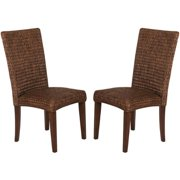 A Line Furniture Montgomery Rattan Woven Dark Brown Dining Chairs (Set of 2)