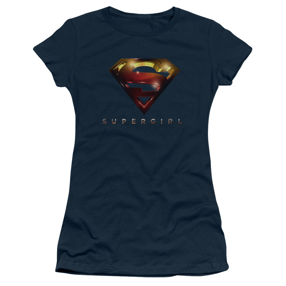 Supergirl Iconic DC Comic Book Character TV Show Logo Juniors Sheer T-Shirt Tee
